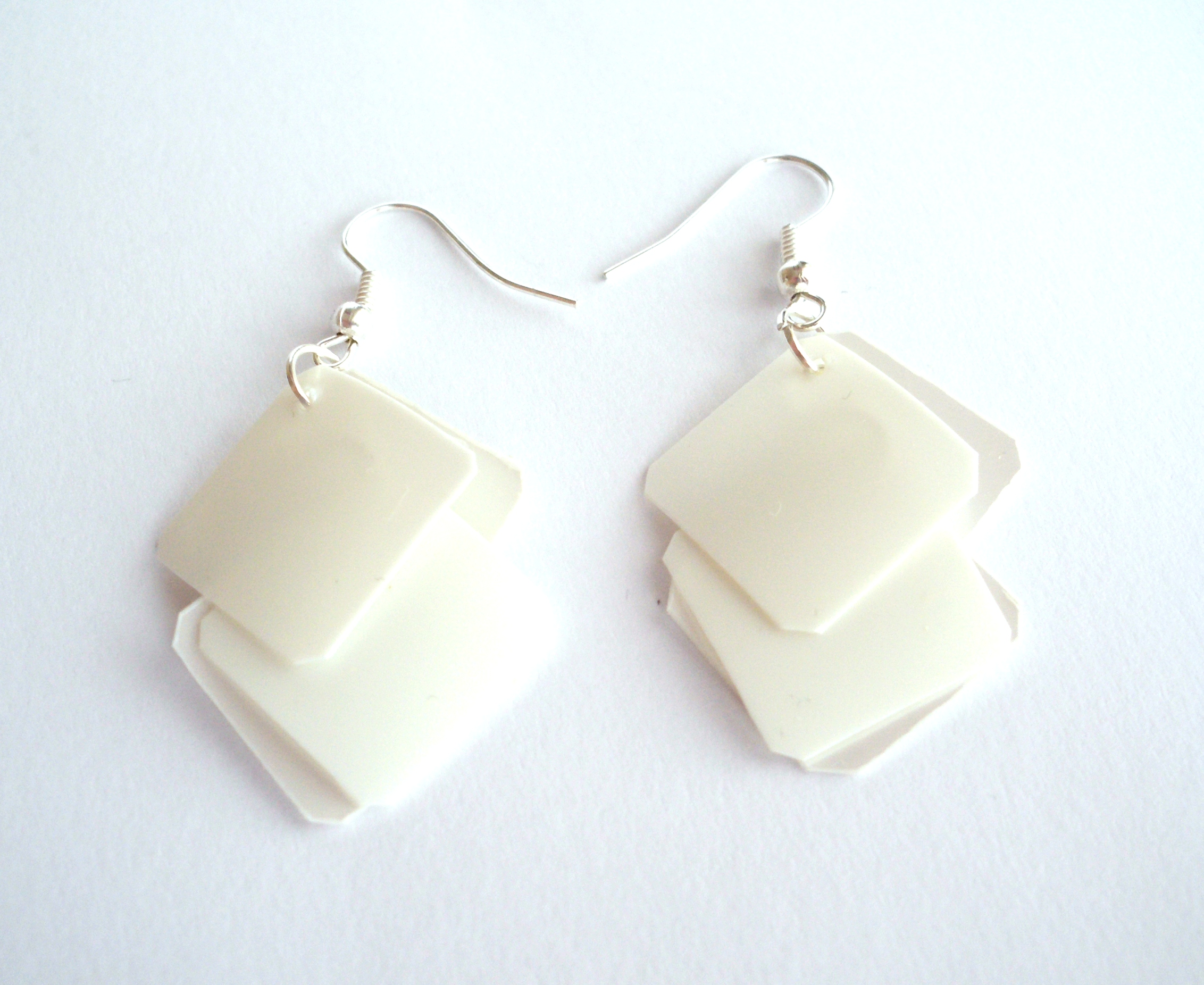 White Earrings Made Of Recycled Plastic Bottle Geometric Squares Eco Friendly Upcycled Jewelry Modern Minimalist